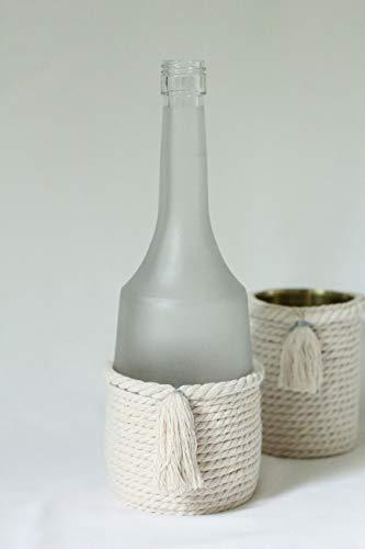 Dekoflasche Vase Kerzenständer Leuchter Kordel