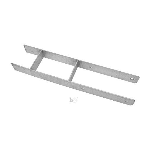 Unbekannt Pfostenträger Pfostenanker H-Form verzinkt 81x5,6x600 mm mit Schrauben