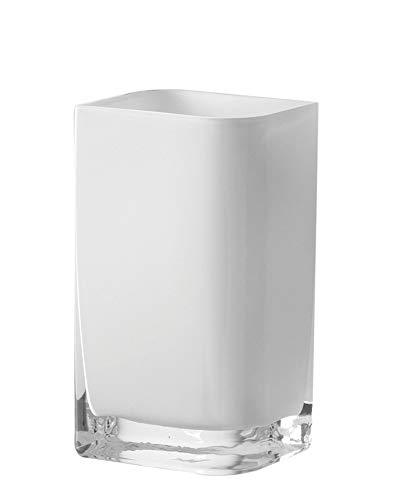 Leonardo Lucca Vase weiß, B/H/T: 11/20/9,5 cm, rechteckig, handgefertigtes Farbglas, 065955