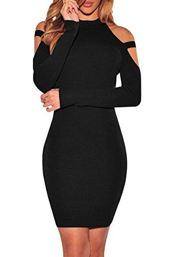 YMING Damen Kleid Sexy Clubwear Festlich Abendmode Langarm Kleid Stetkragen Businesskleid,Schwarz,S / DE 36 (Party Damen-kleider)