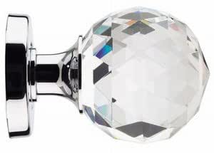 crystal cut glass mortice door knob 50mm rose polished chrome from