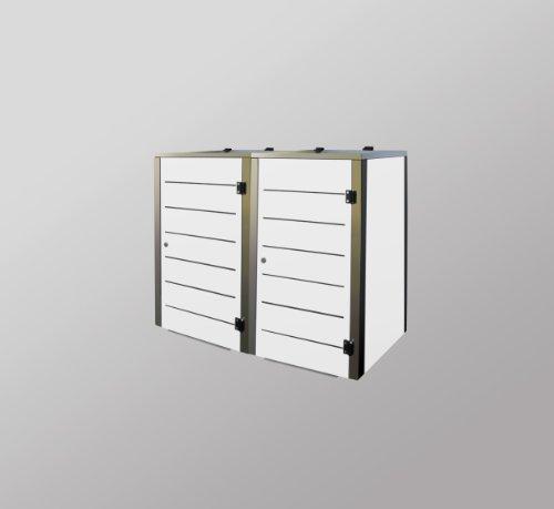 Mülltonnenbox Edelstahl, Modell Eleganza Line, 120 Liter, Zweierbox, in Weiß