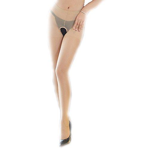 LOVETEA ❤️ Femmes Entrejambes Sexy Soie Chaussettes en Dentelle Collants Collants Sexy Femmes pour Sexe (beige)