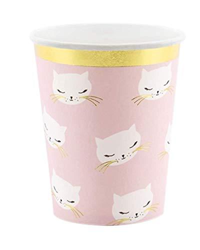Geschirr Papp-e Happy Birthday rosa mit Katze-n-Motiv Geburtstag-s-Deko-ration Mädchen Geburtstags-Feier Tisch Geburtstag Mädchen Prinzessin Kätzchen Mottoparty (6 Becher) ()