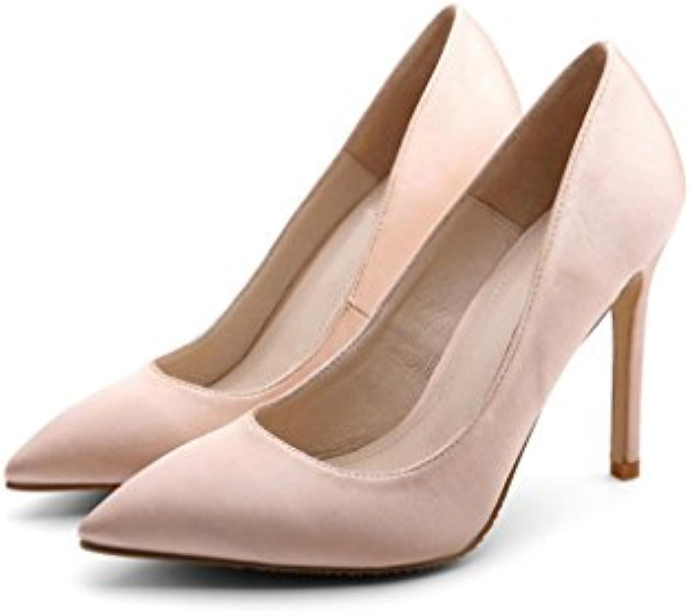Vintage Beige Satin Sexy Pointed Talons dames hauts Mode  s élégantes pour dames Talons Baotou Chaussures confortables...B075HFNHGVParent ab6e01