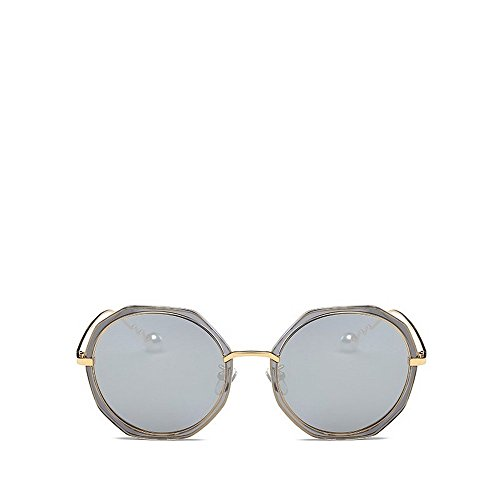 JUNHONGZHANG Trend Sonnenbrille Retro Runde Gläser Polarisierende Pearl Sonnenbrille Brille, Grauer Rahmen Quecksilber