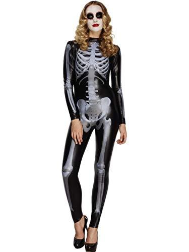erdbeerclown - Damen Frauen Kostüm Skelett und Knochen Druck Overall Einteiler im Röntgen Stil, Skeleton X-Ray Ladies Catsuit perfekt für Halloween Karneval und Fasching, S, Schwarz