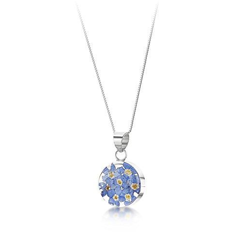 Bijoux en argent avec fleurs véritables - pendentif femme - myosotis bleu et violet - forme ronde - 45cm chaine inclus bleu