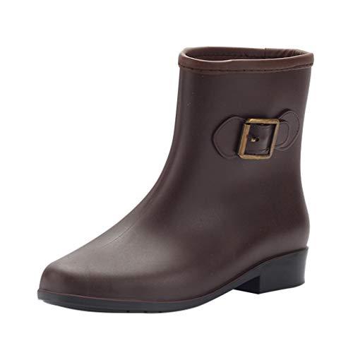 Mymyguoe Regenstiefel Damen Wasserdichte Regenstiefel für Mädchen Jungen Outdoor Boots Gummistiefel mit Blockabsatz Lackleder Runder Kopf Volltonfarbe Schleife Wanderschuhe mid Calf Boots