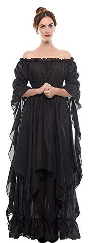Plus Renaissance Größe Kostüm Frauen - Nuoqi Viktorianisches Nachthemd Gothic Kleidung Damen Mittelalterliches Renaissance Kostüm, Schwarz, L/XL