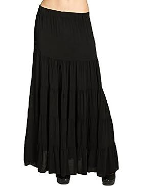 CASPAR RO020 Falda Plisada Larga para Mujer/Falda de Verano con Pretina Elástica