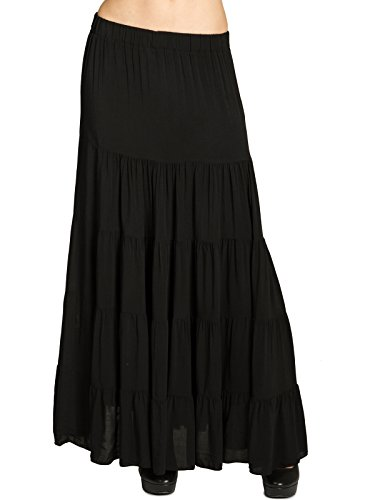 CASPAR RO020 langer eleganter Damen Maxi Sommer Rock Faltenrock, Farbe:schwarz;Größe:S/M