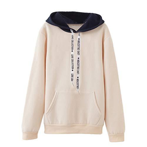 OverDose Damen Herbst-Winter-Sport-Art-Frauen-Lange Hülsen-beiläufiges mit Kapuze Sweatshirt-Pullover-Spitzenbluse Multi-Color Outwear Hoodie