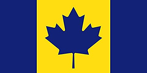 magFlags Raum-Fahne mit modernem verchromtem Fahnenständer und Marmor-Fuß   Flagge: Canada recolour   The maize and blue Michigan Wolverines colored Flag of Canada used to cheer on Stauskas