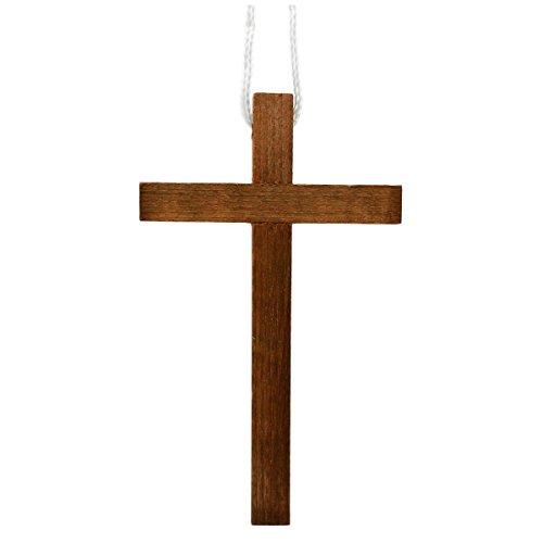 Kreuzanhänger 10cm - großes Umhängekreuz aus dunklem Holz - ideal für Kommunion Konfirmation -