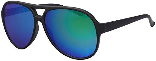 La Optica UV 400 Herren Retro Sonnenbrille Pilotenbrille Fliegerbrille - Einzelpack Gummiert Schwarz (Gläser: Grün verspiegelt)