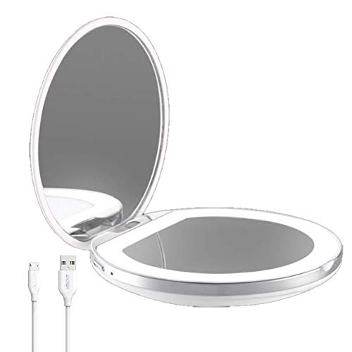 Flybiz Espejo de maquillaje de viaje, Espejo de Bolsillo Compacto Iluminado LED para Maquillaje, luz...