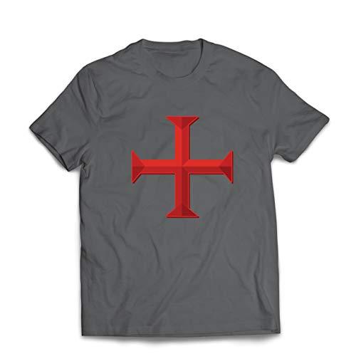 lepni.me Männer T-Shirt Die Tempelritter Rotes Kreuz Arme Mitmenschen-Soldaten Christi (X-Large Graphit Mehrfarben)