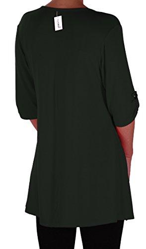 EyeCatch Plus - Tunique basique col en V - Shellie - Femme - Grandes Tailles Vert Bouteille