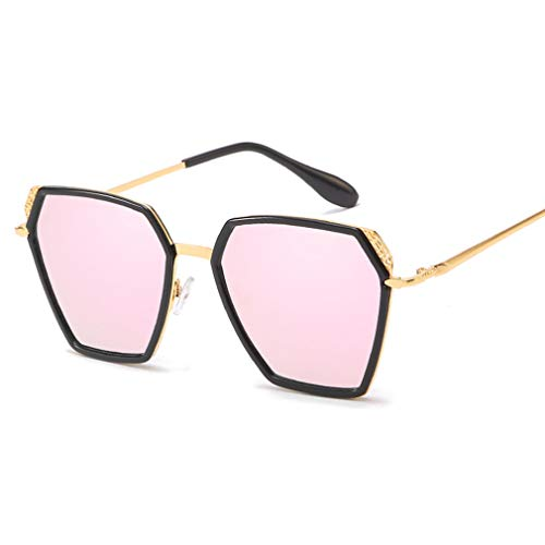 YHgiway Square Sonnenbrille Womens Mens polarisierte überdimensionierte Spiegellinse Shades Sonnenbrille für den Antrieb-100% UV-Schutz YH71043,BlackFrame/PinkLens
