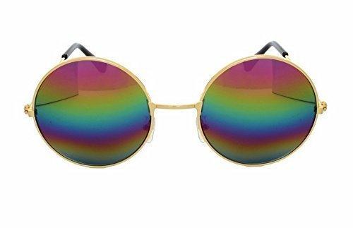 Hermoso último diseño Hippie estilo Unisex gafas gafas de sol redondas lente antirreflejos (Arco iris espejo con marco de oro)