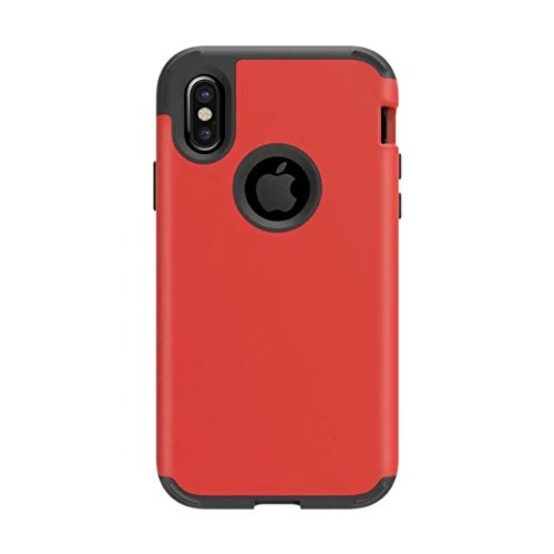 iPhone X Coque, Lantier Shockproof Scratch-Resistant Hybrid High Impact Defender Heavy Duty Protection PC and Silicone feature Full-body Rugged Protective Case pour Apple iPhone X Rouge noir