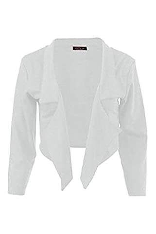 New Women's Ladies Waterfall Style Cropped Blazer Jacket Coat Top