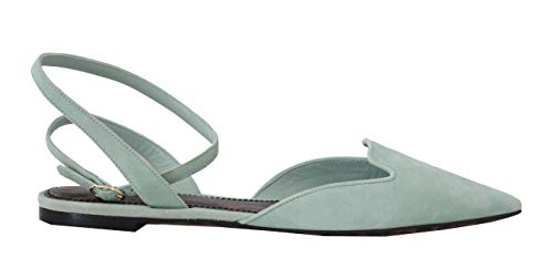 Flats Blue Suede Leather Ankle Strap