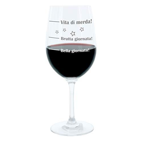 Leonardo Weinglas XL, Bella Giornata!, Brutta Giornata!, Vita Di Merda!, Geschenk Stimmungsglas mit lustiger Gravur Auf Italienisch, Mood Wein Glas, 610ml