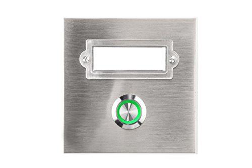 HUBER LED Klingeltaster 12324, 1-fach aufputz/unterputz, quadratisch, Echtmetalll, LED Lichtfarbe grün