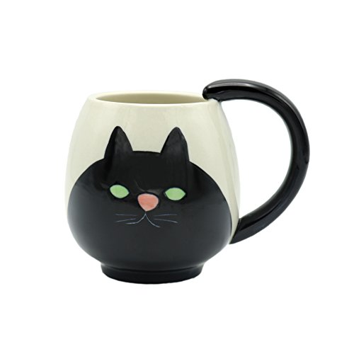 Lehe trading Cute Cat Keramik Schwarz Katze Becher. Kaffee Tasse Geschenk, Cat Lover Geschenk, Halloween Geschenk und Weihnachten Geschenk Schwarze Katze