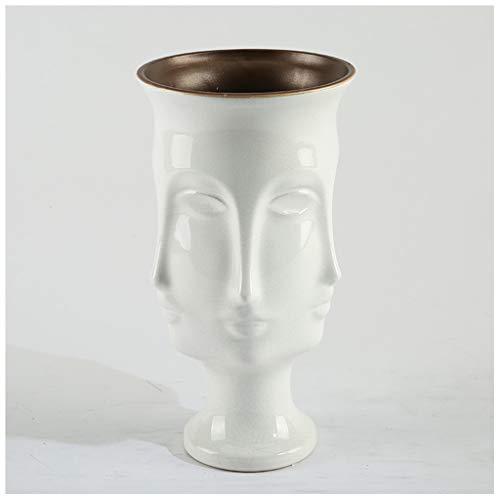 Vases LXF Accueil créatif Visage Fissure Blanc en céramique décoration de Table à Manger Salon Bureau Armoire à vin décoration