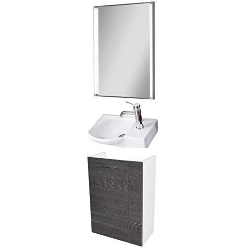 FACKELMANN Badmöbel Set Vadea Gäste WC 3-TLG. 45 cm anthrazit weiß mit Waschbecken Unterschrank & Keramikbecken & LED Spiegelelement