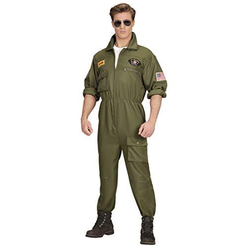 Amakando Luftwaffe Kampfpilot Anzug Herren / Oliv in Größe XL (54) / Toller Fliegeranzug Ganzkörperkostüm / Der Mittelpunkt zu Straßenkarneval & Fasching