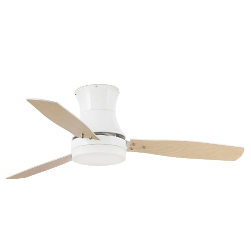 31Kll4mXHfL. SS500  - Projector Barcelona Tonsay 33384Ceiling Fan with Light, 15W Motor, Wings: Wood and Steel/White Opal Glass Maple Polycarbonate White