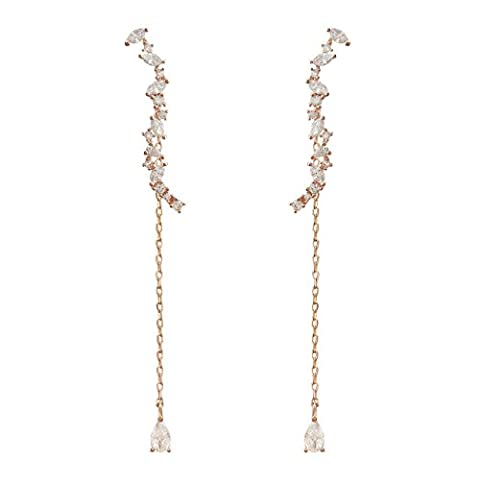 QUKE Woman 925 Sterling Silver Rose Gold Cubic Zirconia Crystal