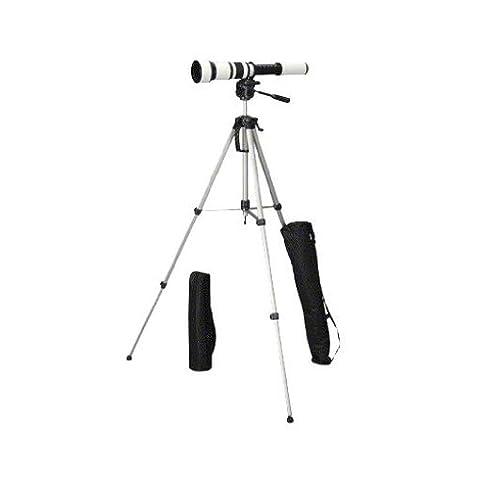Walimex Pro 650-1300mm 1:8-16 DSLR-Teleobjektiv inkl. Dreibeinstativ Walimex Pro WT-3570für Canon EF Objektivbajonett weiß (manueller Fokus, für Vollformat Sensor gerechnet, Filterdurchmesser 95mm)
