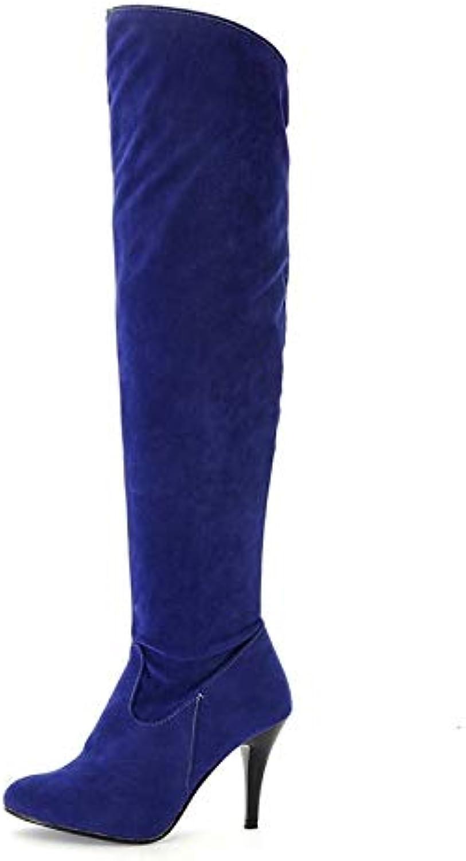 HAOLIEQUAN donna Over Knee stivali Dimensione 34-50 Lace Up Embroidery Wouomo scarpe Round Toe Thick High Heel Female... | Molto apprezzato e ampiamente fidato dentro e fuori  | Scolaro/Ragazze Scarpa