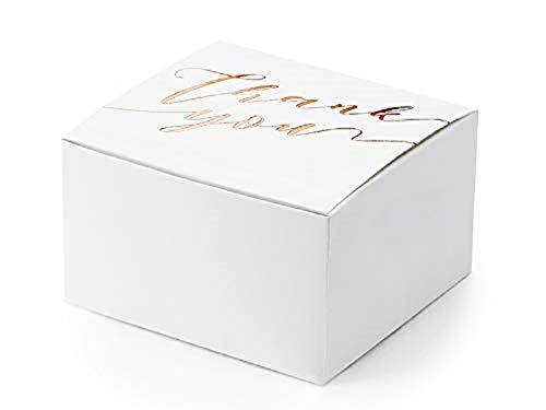 Falt-Schachtel-n Geschenk-Box-en Thank You aus Pappe weiß & rosé-Gold Verpackung Gast-Geschenk-e Hochzeit-s-deko-Ration Konfirmation Kommunion Taufe Danke Candy-Bar Zubehör Accessoires (50 Boxen) -