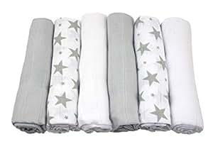 MuslinZ 6pk Baby Muslin Square Burp Cloth Grey Star Combo ...