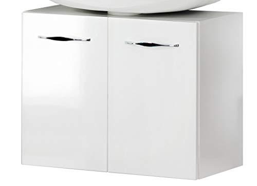 FACKELMANN Beckenunterschrank SCENO/Badschrank mit gedämpften Scharnieren/Maße (B x H x T): ca. 60 x 48 x 34 cm/hochwertiger Schrank fürs Badezimmer mit 2 Türen/Korpus: Weiß/Front: Weiß
