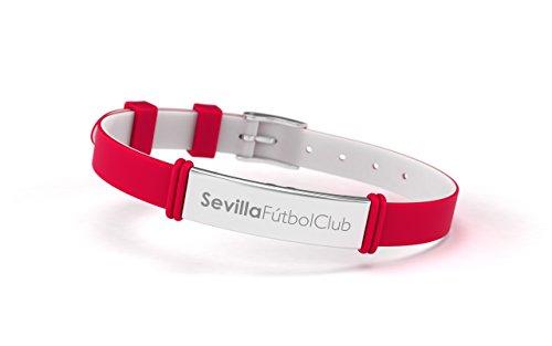 Pulsera Sevilla Fútbol Club Fashion Roja Ajustable para Hombre, Mujer y Niño | Pulsera Sevillista de silicona y acero inoxidable | Apoya al Sevilla con un producto oficial | SFC