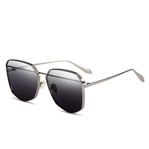 ZRTYJ Sonnenbrille Neueste Frauen Sonnenbrille Mode Farbverlauf Sonnenbrille Männer Unregelmäßigen Metallrahmen Schwarze Brille