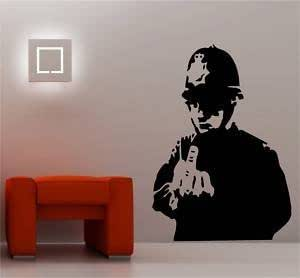 Online Design Banksy Style Rude Cop Wandtattoo Vinyl