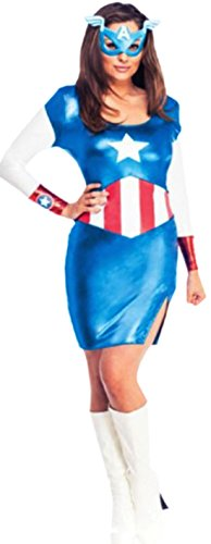 Fancy Ole - Damen Frauen Miss American Dream Minikleid Kostüm mit Maske, M, (Frauen Kostüme Helden Action)