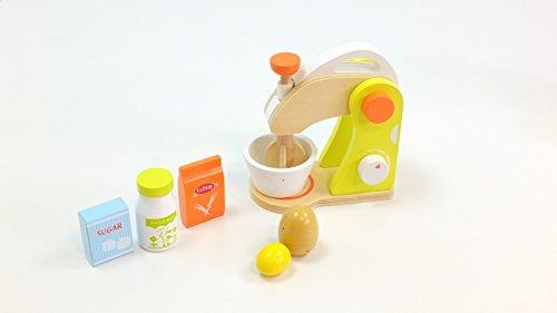 Unbekannt Mixer Set mit Mixer mit drehbaren Rührstab, Rührschüssel, Ei, Flasche Milch, Paket Zucker + Paket Mehl / Material: Holz / 3+