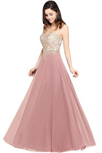 MisShow Ballkleid Damen elegant A Linie Abendkleider Chiffon Perlen Abschlusskleid Festliches Partykleid Rosa 36