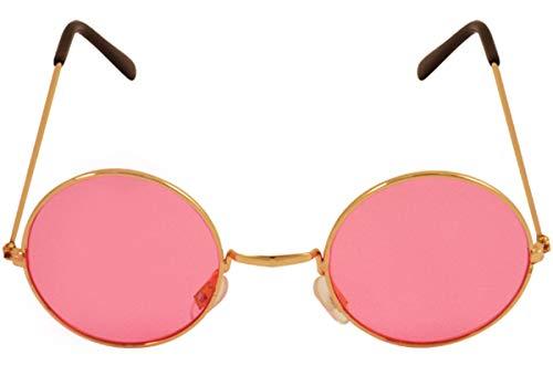 Labreeze John Lennon Sonnenbrille mit goldfarbenem Rahmen, Hippie-Stil 70er 80er Jahre