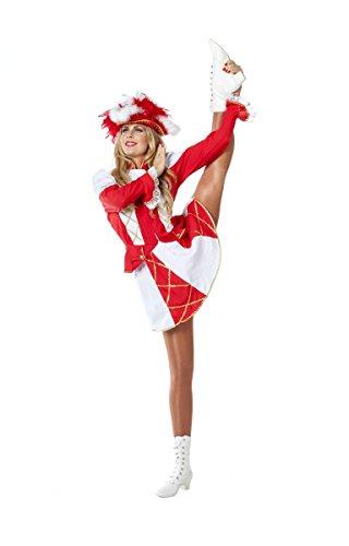 Tanzmariechen Damen Kostüm Garde Karneval Fasching rot-weiß Gr.38