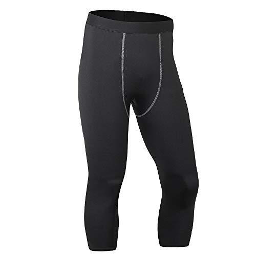 LEICHR Herren Kompressionshose 3/4 Capri Shorts Quick Dry Sport Pants Workout Running Tights Leggings, Herren, schwarz, US M(Asia L) - Antwort Capri Tight